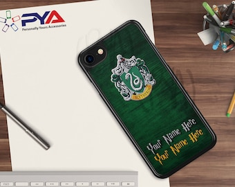Harry Potter Phone Case - Personalized with a Name Slytherin Woodgrain House of Hogwarts for Apple iPhone & iTouch Devices