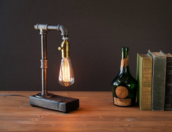 Edison lamp/Rustic decor/Unique Table lamp/Industrial lighting/Steampunk light/housewarming/gift for men/bedside pipe lamp/desk accessories