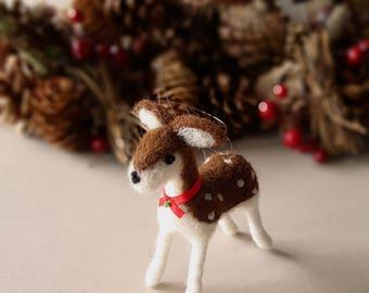 Deer, wool felt woodland animal decor, doe fawn holiday tree ornament,  homemade Christmas ornaments