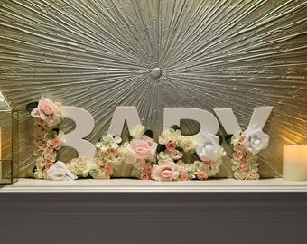 Baby Shower 'BABY' letters, white letter with flowers