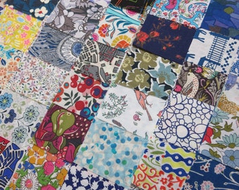 100 Liberty Tana Lawn Fabric Patchwork 2.5 inch Charm Squares Multicolor