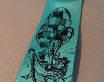 BLUE Necktie - Pirate Balloon Tie - Men's Prates Hot Air Balloon Necktie