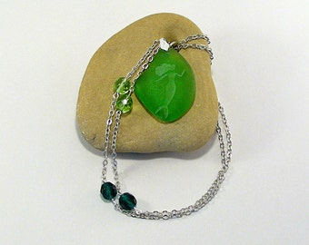 Mermaid Sea Glass Necklace - Seaglass Jewelry - Mermaid Jewelry - Beach Jewelry Bohemian Pendant - Beach Brides - MTSG
