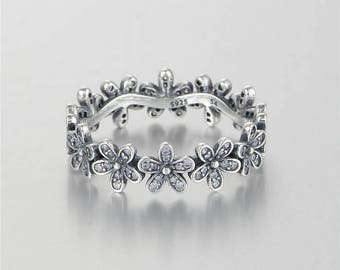 Daisy Flower Ring and/or Earrings Set S925 Silver New like Pandora, inspired. Cubic Zirconia