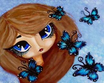 Whimsical Big Blue Eyes Girl, Blue Butterflies Acrylic Art Work Print by Tina Chapman