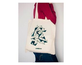 Bolsa de algodón · Bolsa geometría · Geometría Tote bag · Bolso ilustración geométrica · Regalo San Valentín