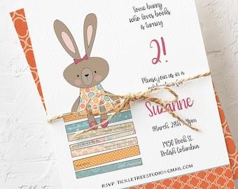 Birthday Party Invitations - Bunny Invitation, Some Bunny Loves Books! Girl's Birthday (Style 13034)