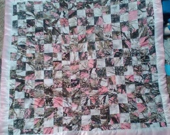 Pink & White Camo Baby Quilt