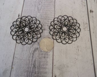 "50mm Black Plated Brass ""laser lace"" Filigree Finding (2)"