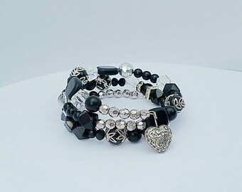 Black and Sliver Beaded Bracelet