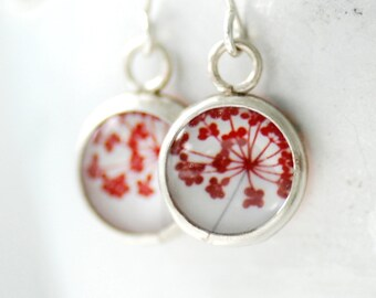 Red and White Earrings, Nature Jewelry, Paper Earrings, Herb Earrings, Chef Gift, Gardener Gift, Flower Jewelry, Gift for Her Under 50