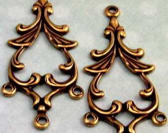 Antique Gold Connector, Rhoda Drop, Trinity Brass, 2 Pc. AG221