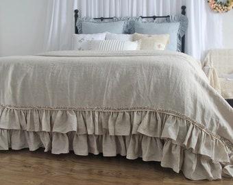 Natural Linen Ruffle Duvet Cover Only Vintage Bedding Queen King Set