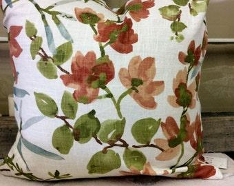 Pillow Cover Linen Tropical Flowers w/hidden zipper, 18x18