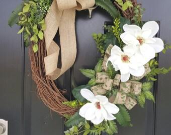 White Magnolia Wreath, Magnolia Grapevine Wreath,Magnolia & Burlap Wreath,Magnolia Wreath for Front Door,Double Door Wreath, Magnolia Wreath