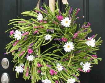 Summer Wreath - Front Door Wreath - White Daisies - Summer Gardens - Daisy Wreaths - Wreaths - Handmade Wreaths