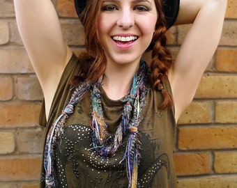 Skinny Scarf, Skinny Scarves, Womens Scarves, Boho Clothing, Bohemian Scarf, Scarves for Women, Multi Color Scarf, Gifts for Her, Fringe