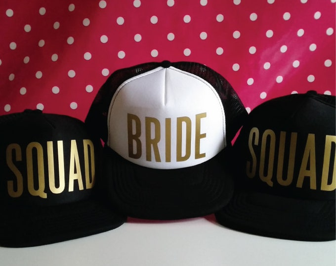 Featured listing image: Set Of 8 Bachelorette Party Hats. 7 Squad Hats. 1 Bride Hat. Hen Party Hats. Snapback. Bridal Party. Wedding Party Trucker Caps.