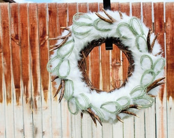 Winter, Natural, Front Door Wreath, Woodland, Frost, Rustic, Antler, Fur, Snow, Grapevine, Winter Wreath, Christmas, Fur Wrapped Wreath