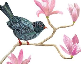 Bird on Magnolia Flowers Art Print 8x10