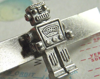 Tie Bar Robot Men's Accessories & Gifts Silver Plated Steampunk Style Original From Cosmic Firefly Las Vegas