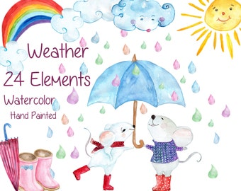 "Watercolor weather clipart: ""WEATHER CLIP ART"" mouse clipart kids clipart Clouds Rainbow Rain Sun Umbrella Rain Boots Hand Painted Clipart"