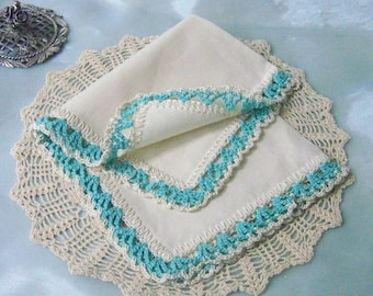 Bridesmaids Handkerchief, Bridal Party Gift, Crochet Hanky, Lace Hankie, Aqua Lace, Bridesmaids Hanky, Custom Embroidered, Ready to ship