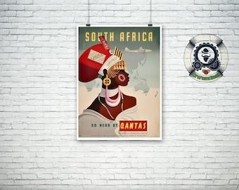 rare vintage travel poster-South Africa - Australia AirlInes-travel - fine art print - design