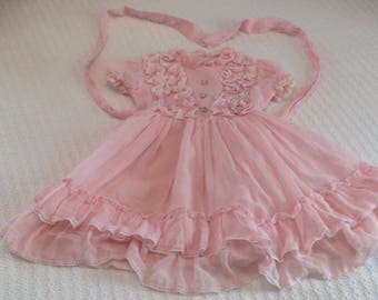 "Vintage Pale Pink and Fluffy ""Miss Quality"" Dress--FREE US SHIPPING"