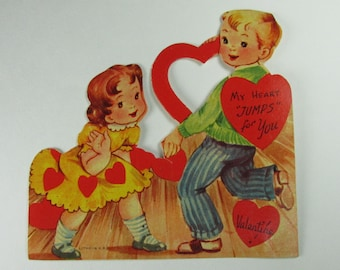 Vintage Valentine Day Card My Heart Jumps for You 1950's Unused