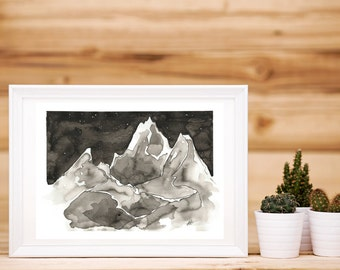 Inkwash Mountains Print