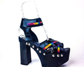 90's London Underground Rainbow Hologram Studded Hologram Platform Chunk High Heel Sandals // 9 or UK 7, EU 41