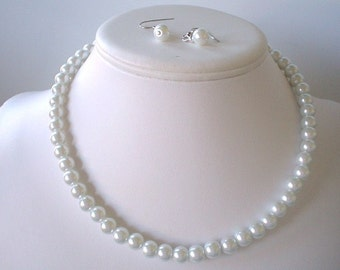 Single Strand White Pearl Beaded Necklace and Earring Set    Great Brides or Bridesmaid Gifts