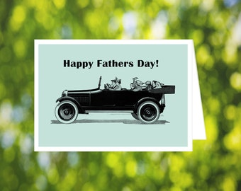 Car Father's Day Card: Car Lover - Vintage Car - Printable Father's Day Card - Gothic - Victorian - Card for Husband - for Him - Car Art