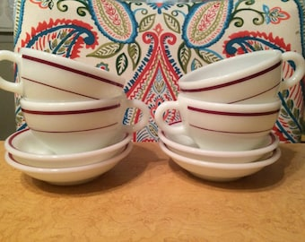 PYREX Ruby / Maroon Band (1960s) Cups & Saucers - 8 Piece Set