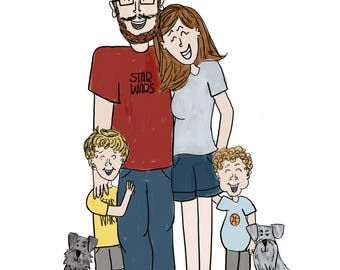 Custom Family Portrait Illustration Cartoon