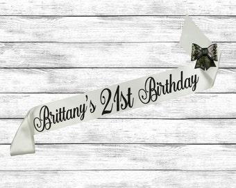 Birthday Sash, 21st Birthday, 21st Glitter Sash, 21 Birthday Sash, Personalized Sash, Glitter Birthday Sash, Birthday Night out, Best Friend