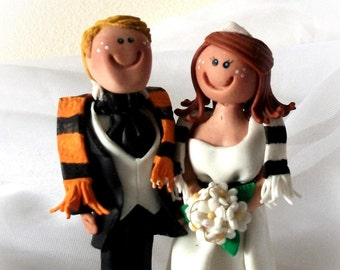 Personalised wedding cake toppers bride and groom with Football scarves handmade