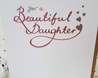 For a Beautiful Daughter Birthday card, With  Love for a Beautiful Daughter Pink and Silver  foiled card, Daughter Birthday card,