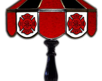 Stained glass Fire Department table lamp