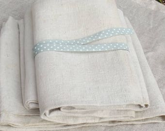 Vintage French Fabric Woven Oatmeal Chanvre organic primitive linen 19th century textile