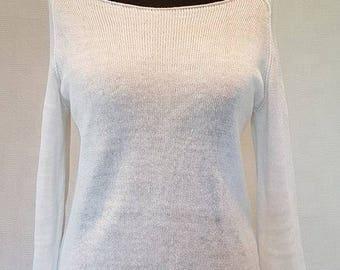 White linen raglan jumper, knit sweater, white jumper, linen sweater, summer jumper, white sweater, summer sweater, knit jumper
