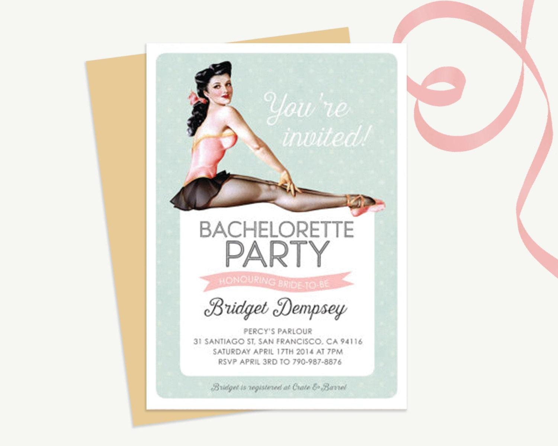 Vintage PIN-UP Ballerina Custom Bachelorette Party Invitation