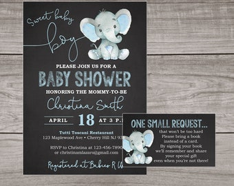 Elephant Baby Shower Invitation Boy - Chalkboard Baby Shower Invitations- Elephant Baby Shower Invitations - Boy - Blue - Elephants Baby-102