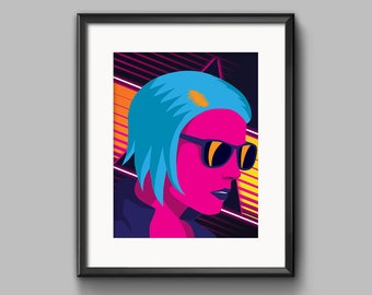 Outrun Girl Art Print - synthwave, vaporwave, outrun, 80s, retro, portrait, neon, girl, blue hair, sunglasses