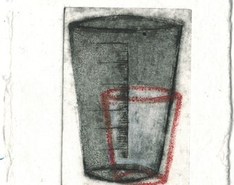 Cup Red-Etching,art,gift,prints,artwork,etching print,original artwork,art,printmaking print,abstract etching,sale,medical,medical print