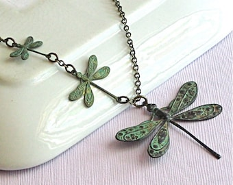 Dragonfly Necklace - Verdigris Patina Brass, Nature Jewelry, Dragonfly Jewelry, Nature Necklace
