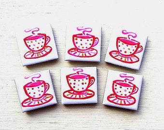 Teacup Magnet, Fridge Magnet, Cup of Tea Magnet, Stationary Magnet, Gift for Teacher, Refrigerator Magnet, Gift for Her