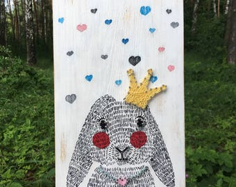 String Art Rabbit/Rabbit Wood Sign/Rabbit Picture/String Wall Art/String Art Animal/Rabbit Artwork/Rabbit Wall Art/Crown
