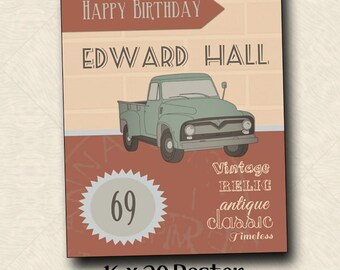 Classic Truck Poster for Birthday - Retirement - Mens Party - Decor - Vintage - 16 x 20 - PDF - Printable - Custom - Pickup